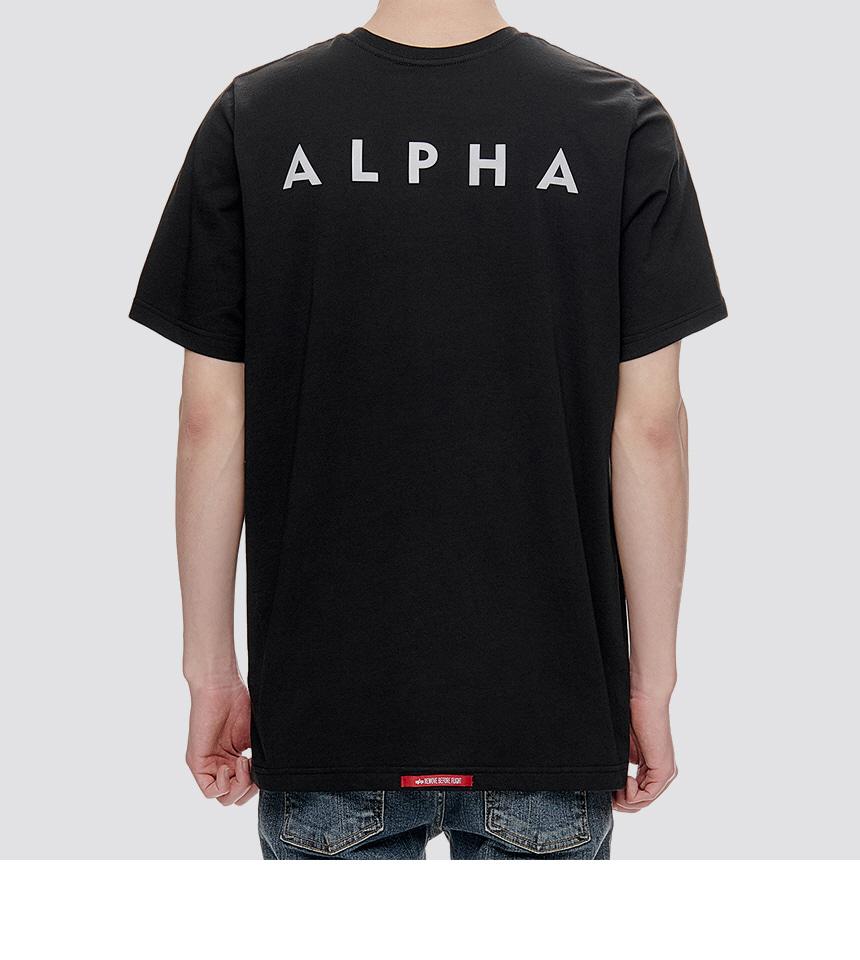 알파 인더스트리(ALPHA INDUSTRIES) 리플렉티브 스몰 로고 반팔 티셔츠 Black